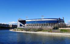 Das Estadio Vicente Calderón am Rio Manzanares