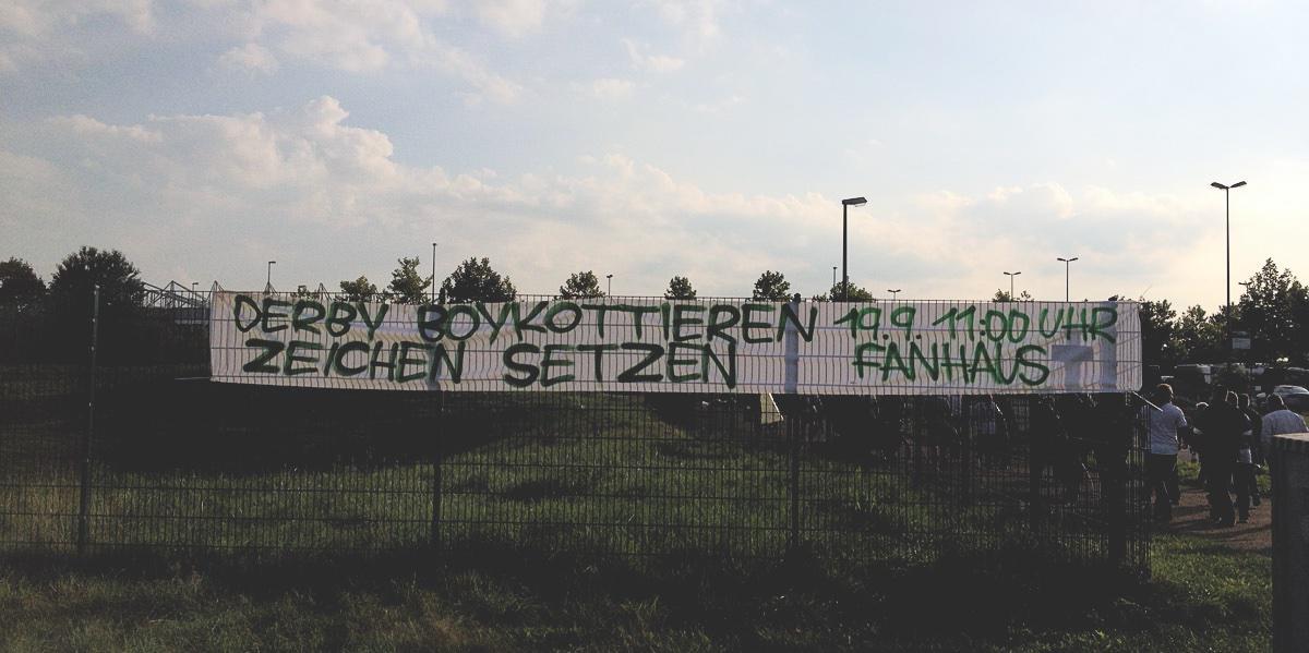 Bild: Banner Derby-Boykott