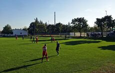 Hinter dem Tor sitzt der Mühlburger Sportplatzrentner-Block…