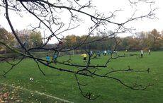 Ein regnerischer Herbsttag auf dem Sportplatz in Karlsruhe-Mühlburg…