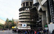 Estadio Santiago Bernabéu mit einem der Ecktürme